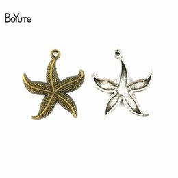 antique piece necklace NZ - BoYuTe (50 Pieces  lot) 23MM Antique Bronze Silver Plated Zinc Alloy Starfish Charms Pendants for Diy Jewelry Findings Making Diy Necklace