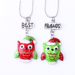"""Best Gift For Xmas Australia - 2PCS Pair """"Best Friends"""" Xmas Owl Necklaces Kids Imitation Necklace For Children Jewelry Birthday Chirstmas Gifts"""