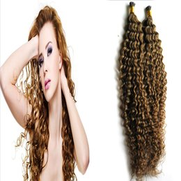 permed curly hair NZ - I Tip products Pre-bonded curly hair human weave for a head can be Permed texture nonremy