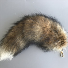 "Cartoon Tail UK - 16""-100% Real Genuine Sun Fox Fur Tail Cosplay Toy Keychain keyring Handbag Accessory"