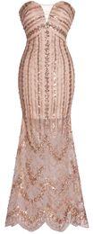 Вечернее платье выпускного вечера Fazadess V-образным вырезом с блестками и блестками
