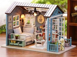 wholesale doll houses NZ - Doll House Miniature DIY Dollhouse With Furnitures Wooden House Toys For Children Birthday Gift K0226