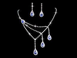 $enCountryForm.capitalKeyWord Canada - 2018 New Crystals blue Purple Flowers Necklace Earrings Jewelry Sets Girl and Lady Prom Cocktail Graduation Party Bridal Accessories Wedding