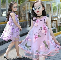Robe coréenne fashion pour filles New Summer Princess Organza Flower Print Rural Casual Dress fit 5-14 ans Enfant