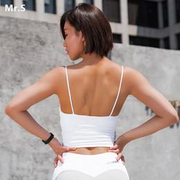 ed168d0866 Women s Yoga Sports Crop Bra Top Shirts Built in Shelf Bra White Medium  Support Fitness Workout Top Cute Gym Tanks Activewear