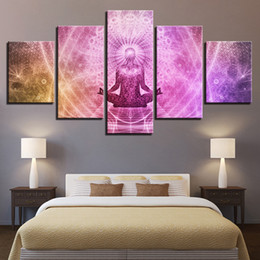 $enCountryForm.capitalKeyWord Australia - Canvas Wall Art Pictures Modular Home Decor Framework 5 Pieces Buddha Art Paintings Living Room HD Prints Buddhism Yoga Posters