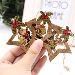Gift Craft Christmas Ornament Australia - 4PCS Star Printed Wooden Pendants Ornaments Xmas Tree Ornament DIY Wood Crafts Kids Gift for Home Christmas Party Decorations Y18102609