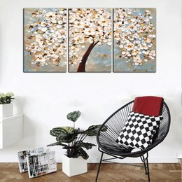 Discount large flower canvas art prints - Free Shipping Large 3 Panels Set HD Print White Flowers Oil Painting On Canvas Wall Art Picture Gift For Living Room Dec