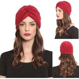 Quality Beach Wraps Australia - Top Quality Stretchy Turban Head Wrap Band Sleep Hat Chemo Bandana Hijab Pleated Indian Cap Yoga turban hat 20 Colors