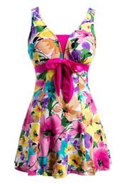 one piece swim dresses 2019 - Women's Swimwear Bathing Suit Push Up Swimsuit One Piece Swim dress Rose Red 5XL discount one piece swim dresses