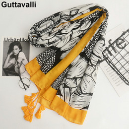 Dotted Cotton Scarves Australia - Guttavalli Women Sunflowers Cotton Tassels Long Shawl Female Skinny Floral Wrap Chevron Sunscreen Yellow Ends Dots Plant Scarves S18101904