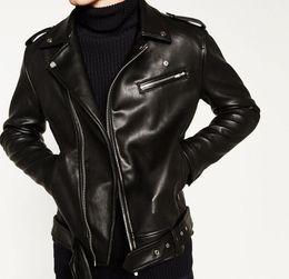 $enCountryForm.capitalKeyWord Canada - 2016 Autumn Winter Man Black Faux Leather Biker Jackets Open lapels Zippers pockets Hem belted Epaulet Shoulders SIZE S TO XXL
