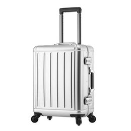 fb1716bbbd9 Ultralight 100% Aluminum-magnesium alloy Rolling Luggage Spinner Wheel  Suitcase 20 inch Cabin Trolley Password Travel bag