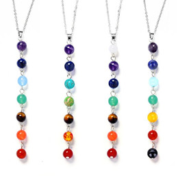 Discount colour stone necklace - 7 Colour Natural Stone Beads Necklaces 7 Reiki Chakra Healing Balance Beads Pendant Necklaces Women Yoga Jewelry