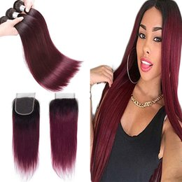 red straight hair extension 2019 - Ombre Brazilian Straight Human Hair Bundles With Closure T1B 99# Red Two Tone Virgin Hair Weaves Extensions Double Weft