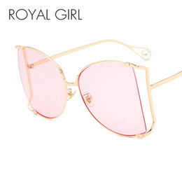 Royal blue pink decoRations online shopping - ROYAL GIRL Oversized Square Sunglasses Women New Big Frame Pearl Decoration Clear Lens Sun Glasses for Women UV400 ss315