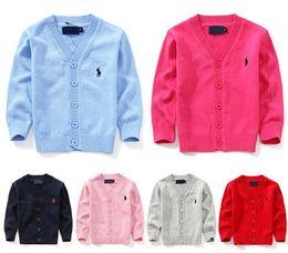 Outono Crianças 7 cores casaco cardigan menino blusas de algodão doce 100% algodão Meninos meninas single-breasted jaqueta polo desgaste exterior