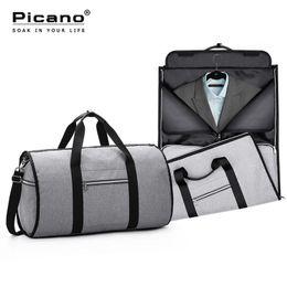 Foldable duFFel bag online shopping - Travel Garment Bag In Men Weekend Bag Suitcase Suit Business Travel Organizer Foldable Shoulder Trip Luggage Pack PCN062
