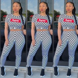 $enCountryForm.capitalKeyWord Canada - Super Letter Grid Women Shorts T-shirts Sports Suits Print Pants Leggings Tees Tops Two Piece Sets Short Sleeves Trendy Tracksuit Outfits HL