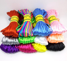 wired chinese knot NZ - YIQIFLY 12pcs lot 2mm 20m sheaf Chinese Knot Cord Rattail Satin Braided String Mixed 12 Colors Jewelry Findings Beading Rope