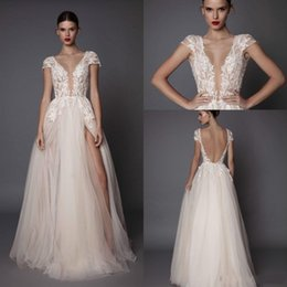 Open sided skirt online shopping - 2018 Berta Beach A Line Wedding Dresses Deep V Neck Tulle Side Split Cap Sleeve Cheap Bridal Beach Open Back Sexy Wedding Gowns BA5250