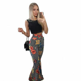 6a51f162f5c9ff Fashion Crop Top and Wide Leg Pants Set Flower Stripe Print 2 PCS Sets  Women O-Neck Tank Flare Pants Sets Casual Summer Outfits