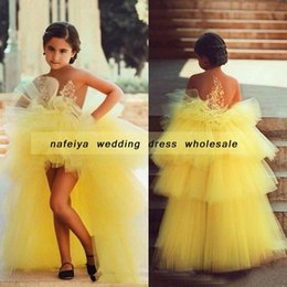 $enCountryForm.capitalKeyWord NZ - Yellow Crew Neck Said Mhamad Hi-Lo Lace Appliques Flowers Girls Dresses for Weddings Pageant Dress Ball Gown 2018 TuTu Cheap Gowns
