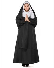 Cosplay Costumes Black Dress NZ - Sexy Adult Women Nun Sister Cosplay Costume Black Deep V Slit Hoodie Maxi Dress Halloween Party Role Play Clothing Fancy Dress PS068