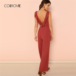 $enCountryForm.capitalKeyWord NZ - X COLROVIE Rust Backless Ruffle Trim Open Back Wide Leg Sexy Women Jumpsuit 2018 Summer Sleeveless Jumpsuits Overalls For Female