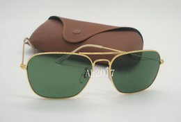Glasses Sun Protection Australia - 1Pair High Quality Mens Woemsn Sports Rectangle Sunglasses Gold Metal Sun Glasses Green 58mm Glass Lenses UV Protection Come With Case Box