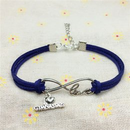 $enCountryForm.capitalKeyWord Australia - 2018 new Punk Sport Antique Silver I Love Gymnastics Pendant Charm Leather Bracelet for Women Men Gymnastics Team Gift Infinity Love Jewelry