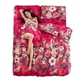 Pink Flower Bedding Sets UK - Wholesale-Boutique Warm Flannel Bedding Sets New Twin Full King Queen Size Bedding Sets Soft Flower Cartoon 4PCS Duvet Cover Set