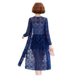 95b091f2cf New woman lace cardigan jacket woman long section summer thin shawl jacket  chiffon long-sleeved sunscreen shirt