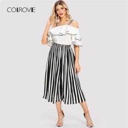 10db710a99385 COLROVIE Schwarz und Weiß Striped Open Schulter Rüschen Bluse Hosen Frauen  Set 2018 Herbst Elegante Anzüge Sexy Zweiteilige Sets