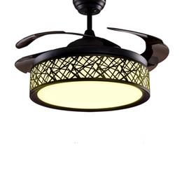 Vente en gros Moderne LED Plafond Ventilateur Lumières Lampes Timing Télécommande Fréquence Conversion Moteur Lustre Lumière Pendentif Lampe Éclairage Invisible