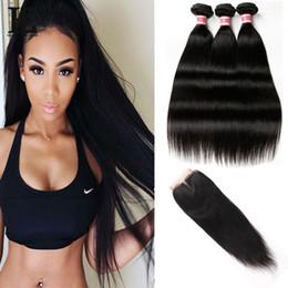 Human Hair Pc Closure NZ - Peruvian Hair Bundles With Closure Straight 3 Bundles 8A Grade Peruvian Hair Weave 4 Pcs Lot Human Hair Bundles With Closure Free Shipping