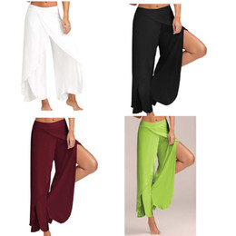 wide leg yoga pants UK - 50pcs European and the United States Women polyester yoga Plain full length Trousers wide Loose leg pants 10colors Summer Plus size