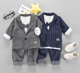Three Piece Suit Bow Australia - 2018 new British wind boy suit Three-piece trousers underwear kindergarten uniform gentleman bow tie Suitable for 1-3 years old Cotton
