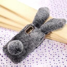 $enCountryForm.capitalKeyWord NZ - 3D Genuine Rabbit Hair Case For LG G7 Huawei P20 Lite One Plus 6 OnePlus 6 Bling Diamond Fluffy Fur Cover Soft TPU Long Ears Back Skin Cute