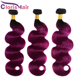 Discount cheap ombre purple hair weave Dark Roots 1B Purple Body Wave Ombre Weaves Virgin Peruvian Human Hair Bundles Cheap Wavy Colored Two Tone Purple Hair E