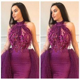 $enCountryForm.capitalKeyWord NZ - High Neck Slim Mermaid Lace Appliques Quinceanera Dresses Beaded Pearls Custom 2019 Sleeveless Custom Luxurious Vestidos De Prom Party Gowns