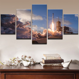 Art Canvas Prints Australia - Home Decor Print Painting Modular Vintage 5 Pieces Nowy Falcon-9 Landscape Art HD Canvas Wall Tableau Picture For Living Room Poster