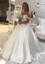$enCountryForm.capitalKeyWord NZ - New Charming Ball Gown Wedding Dresses 2018 Off Shoulder Appliques Sweep Train Satin Elegant Bridal Wedding Gowns Plus Size Custom Made