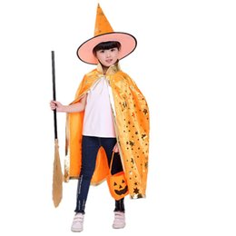 China Kids Adult Children Halloween Baby Wizard Witch Cloak Cape Robe+Hat Set Hat For Halloween Costume Party Accessory cheap kids wizard hat suppliers