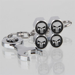 bike air valve caps NZ - 20sets Lot (4pcs+1 Spanner) Set Skull Logo Car Tire Valve Caps Motorcycle Bike Tyre Air Stems Caps