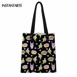 Woman Funny Bags NZ - INSTANTARTS Funny Cartoon Banana Print Women PU Leather Tote Bags Fashion Brand Designer Ladies Shoulder Bag Shopping Handbags