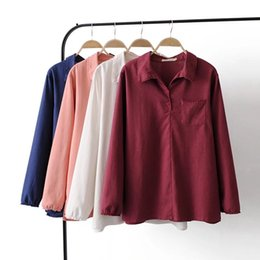59a84859380ec5 Plus size long sleeve coon linen blouse women 2018 spring casual pocket lace  solid color shirt turn-down collar ladies tops