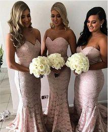$enCountryForm.capitalKeyWord Australia - Blush Pink Full Lace Mermaid Bridesmaid Dresses Sweetheart Formal Wedding Guest Gowns Custom Made Maid of Honor Dress