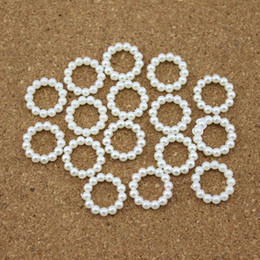 Flat Back Pearls Australia - 100pcs lot 15mm*15mm White Round Flat Back Simulated Pearls Beads Jewelry Ribbon Slider DIY Scrapbooking F1522