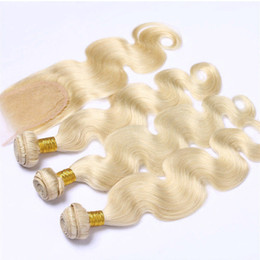 virgin brazilian hair companies UK - Company Malaysian Virgin Straight Hair Human Hair Extensions 12-24Inch With Closure Remy Hair Weaving 613 Blonde Closure Juancheng Factory